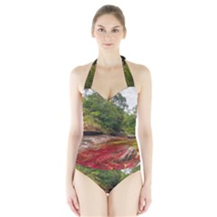 CANO CRISTALES 1 Women s Halter One Piece Swimsuit