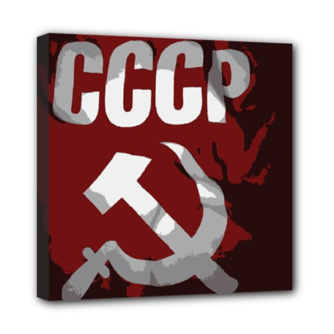 Cccp Soviet Union Flag Mini Canvas 8  X 8  (stretched)