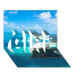 Whitehaven Beach 2 Girl 3d Greeting Card (7x5)