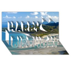 Whitehaven Beach 1 Happy Birthday 3d Greeting Card (8x4)