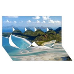 WHITEHAVEN BEACH 1 Twin Hearts 3D Greeting Card (8x4)