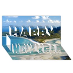 Whitehaven Beach 1 Happy New Year 3d Greeting Card (8x4)