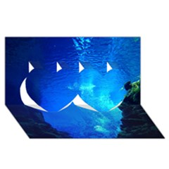 Underwater Trench Twin Hearts 3d Greeting Card (8x4)