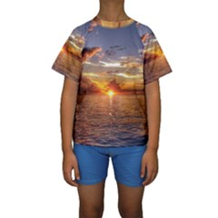 TAHITIAN SUNSET Kid s Short Sleeve Swimwear