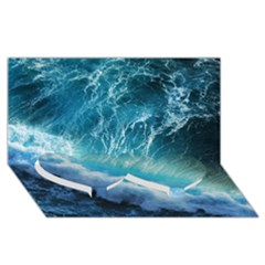 STORM WAVES Twin Heart Bottom 3D Greeting Card (8x4)