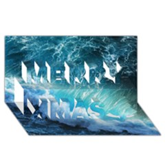 STORM WAVES Merry Xmas 3D Greeting Card (8x4)