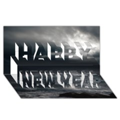 OCEAN STORM Happy New Year 3D Greeting Card (8x4)