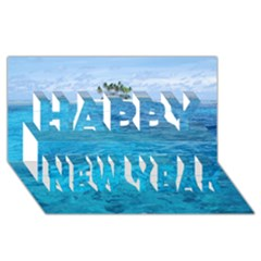 Ocean Island Happy New Year 3d Greeting Card (8x4)