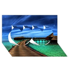 MALDIVES 2 Twin Hearts 3D Greeting Card (8x4)