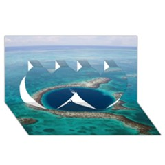 GREAT BLUE HOLE 1 Twin Hearts 3D Greeting Card (8x4)