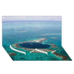 GREAT BLUE HOLE 1 Twin Heart Bottom 3D Greeting Card (8x4)