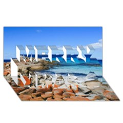 Bay Of Fires Merry Xmas 3d Greeting Card (8x4)
