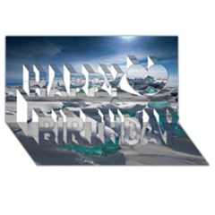 Turquoise Ice Happy Birthday 3d Greeting Card (8x4)