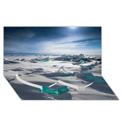 TURQUOISE ICE Twin Heart Bottom 3D Greeting Card (8x4)