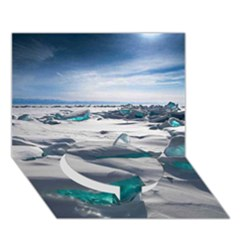 TURQUOISE ICE Circle Bottom 3D Greeting Card (7x5)