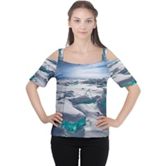 TURQUOISE ICE Women s Cutout Shoulder Tee