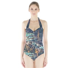 HUANGLONG POOLS Women s Halter One Piece Swimsuit