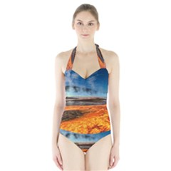 FIRE RIVER Women s Halter One Piece Swimsuit