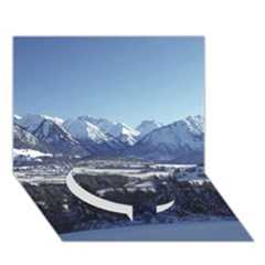 SNOWY MOUNTAINS Circle Bottom 3D Greeting Card (7x5)