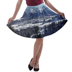 Snowy Mountains A Line Skater Skirt