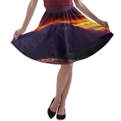 SAN GABRIEL MOUNTAIN SUNSET A-line Skater Skirt
