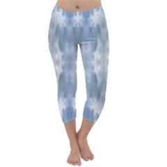 Ice Crystals Abstract Pattern Capri Winter Leggings