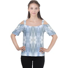 Ice Crystals Abstract Pattern Women s Cutout Shoulder Tee