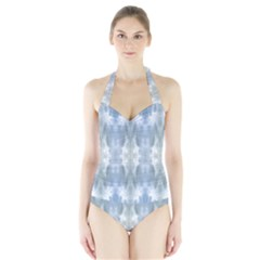 Ice Crystals Abstract Pattern Women s Halter One Piece Swimsuit
