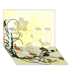 Wonderful Flowers With Leaves On Soft Background I Love You 3D Greeting Card (7x5)