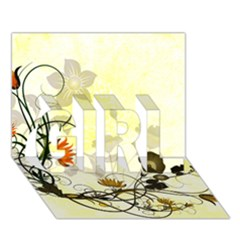 Wonderful Flowers With Leaves On Soft Background GIRL 3D Greeting Card (7x5)