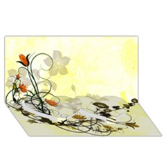 Wonderful Flowers With Leaves On Soft Background Twin Heart Bottom 3D Greeting Card (8x4)