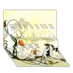 Wonderful Flowers With Leaves On Soft Background THANK YOU 3D Greeting Card (7x5)