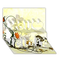 Wonderful Flowers With Leaves On Soft Background You Did It 3D Greeting Card (7x5)