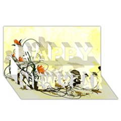 Wonderful Flowers With Leaves On Soft Background Happy New Year 3D Greeting Card (8x4)