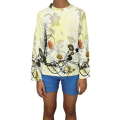 Wonderful Flowers With Leaves On Soft Background Kid s Long Sleeve Swimwear