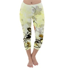 Wonderful Flowers With Leaves On Soft Background Capri Winter Leggings