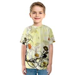 Wonderful Flowers With Leaves On Soft Background Kid s Sport Mesh Tees
