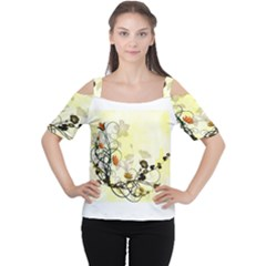 Wonderful Flowers With Leaves On Soft Background Women s Cutout Shoulder Tee