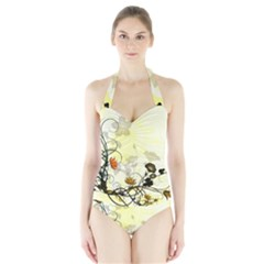 Wonderful Flowers With Leaves On Soft Background Women s Halter One Piece Swimsuit