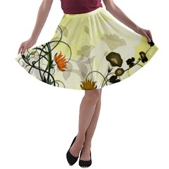 Wonderful Flowers With Leaves On Soft Background A-line Skater Skirt