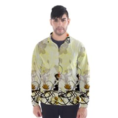 Wonderful Flowers With Leaves On Soft Background Wind Breaker (Men)