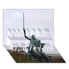 Washington Statue You Are Invited 3d Greeting Card (7x5)