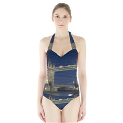 TOWER BRIDGE Women s Halter One Piece Swimsuit