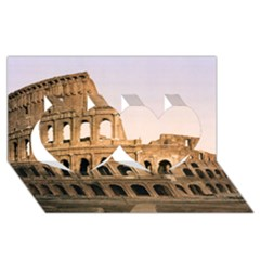 Rome Colosseum Twin Hearts 3d Greeting Card (8x4)