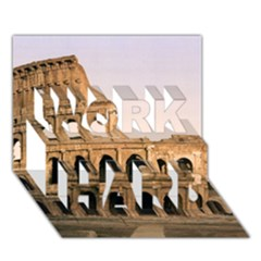 Rome Colosseum Work Hard 3d Greeting Card (7x5)
