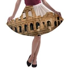 Rome Colosseum A Line Skater Skirt