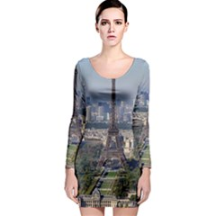 Eiffel Tower 2 Long Sleeve Bodycon Dresses