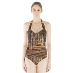 WOOD SHADOWS Women s Halter One Piece Swimsuit