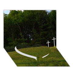 THREE CROSSES ON A HILL Heart Bottom 3D Greeting Card (7x5)