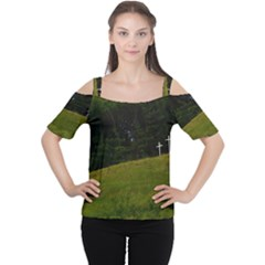 THREE CROSSES ON A HILL Women s Cutout Shoulder Tee